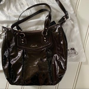 Coach Deep Brown Patent Leather Bag
